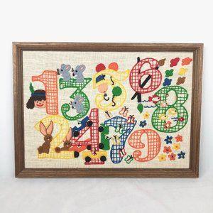 Vintage Handmade Numbers Crewel
